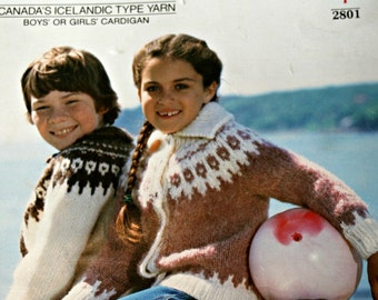 Kids Cardigan Knitting Pattern Nordic Elenka 2801 White Buffalo Mills Vintage Paper Original, NOT a PDF