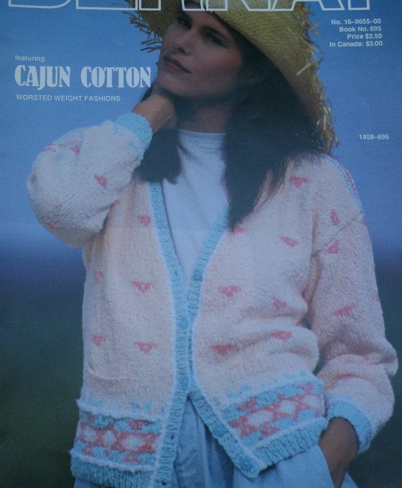 b71c0482fac74 Sweater Knitting Pattern Cajun Cotton Bernat 695 Women