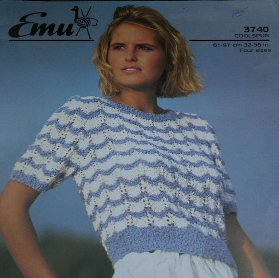 sweater knitting pattern women summer lace emu 3740 four sizes 32 38 inches 81 97 cm paper. Black Bedroom Furniture Sets. Home Design Ideas