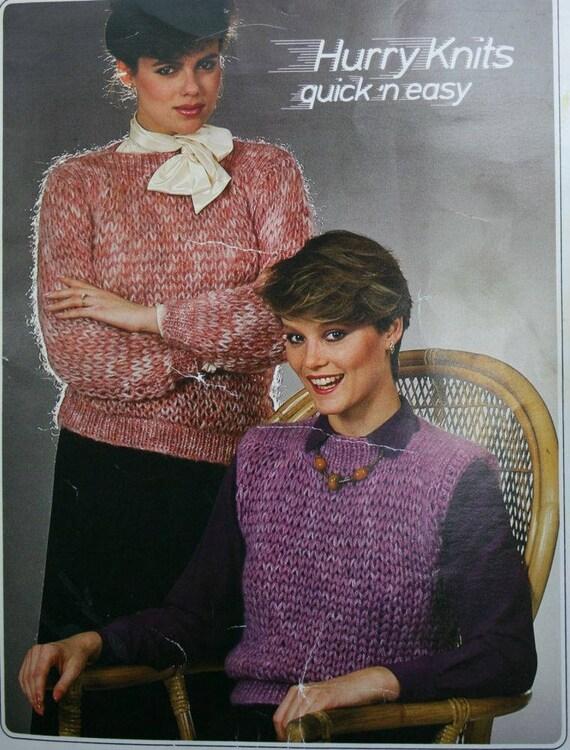 Sweater Knitting Patterns Vest Hurry Knits Jaeger 1011 Women Etsy