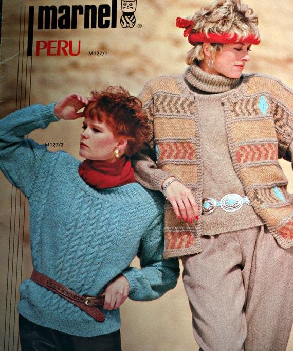 Tejer patrones suéteres Marnel Perú M127 inglés francés | Etsy