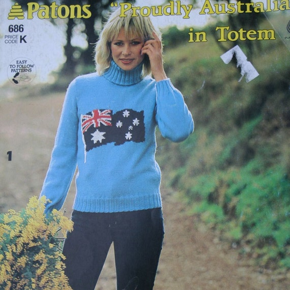 Sweater Knitting Patterns Proudly Australian Patons 686 Men Etsy