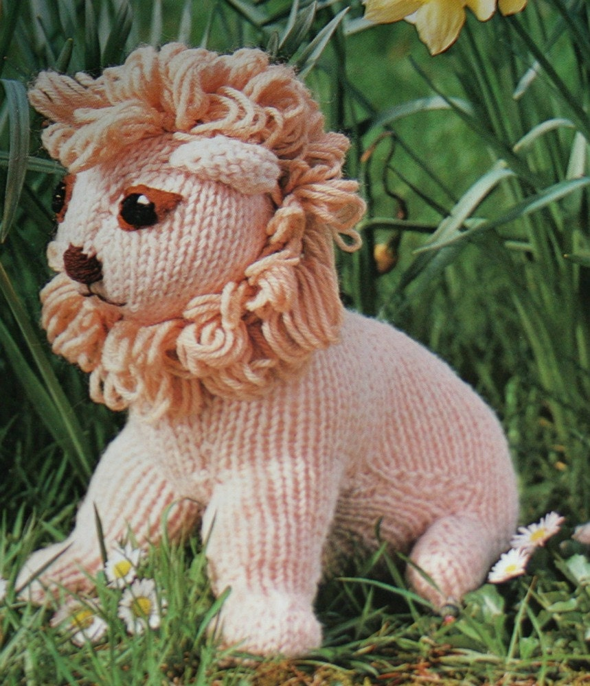 Knitting Pattern Lion Toy FRENCH Worsted Weight Yarn ...