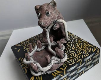 Creative pet friend by Victoria Cable clay sculpture, painting