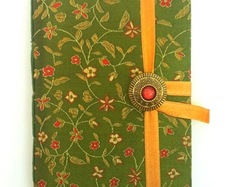 Handmade writing Journal notebook, lined journal diary, Green fabric  journal notebook with red flowers, travel journal, bridal wedding gift