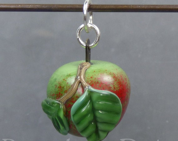 Apple (medium) -  Handmade Lampwork Art Glass and Sterling Silver Pendant - Rowanberry SRA - APP3