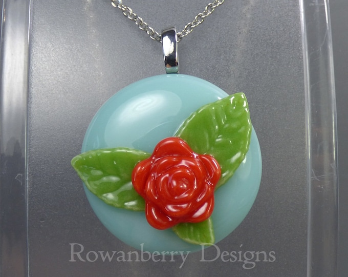 Featured listing image: VINTAGE ROSE - Handmade Fused Glass & Stainless Steel Pendant Necklace - Rowanberry SRA  - art painting- RSFP2