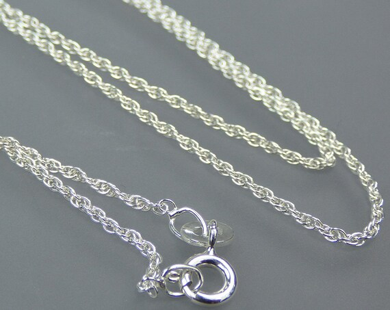 Sterling 925 Silver - 20 inch long - 1mm Prince of Wales Rope chain