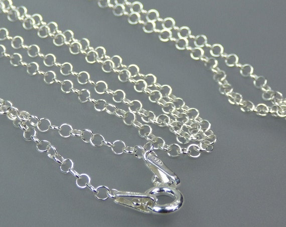 Sterling 925 Silver - 24 inch long - 2mm Rolo chain