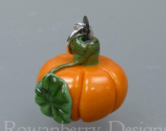 PUMPKIN -  Handmade Lampwork Art Glass and Sterling Silver Pendant - Rowanberry SRA - PMK1