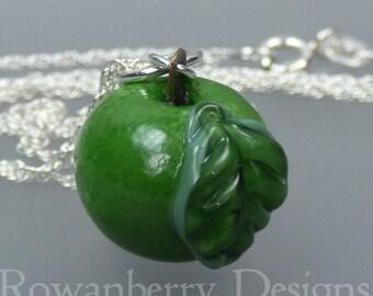 Mini Apple Pendant and Optional Chain - Handmade Lampwork Glass & 925 Sterling Silver - Rowanberry Designs SRA - APN1