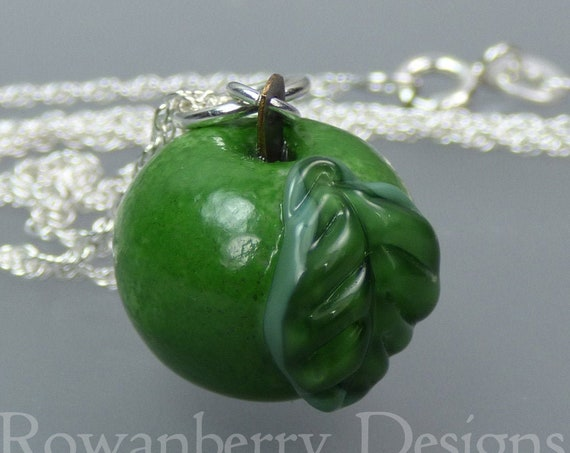 Mini Apple Pendant and Optional Chain - Handmade Lampwork Glass & 925 Sterling Silver - Rowanberry Designs SRA - APN1