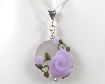 Rose Vine Pendant and Chain - Art Nouveau Handmade Lampwork Glass & 925 Sterling Silver - Rowanberry Designs SRA - Art- RP3