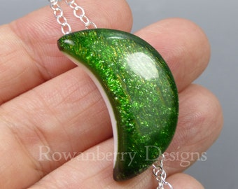 Sparkling Moon Pendant and Chain - Handmade Fused Art Glass & 925 Sterling Silver - Rowanberry Designs