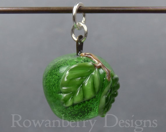 Apple (large) -  Handmade Lampwork Art Glass and Sterling Silver Pendant - Rowanberry SRA - APP4