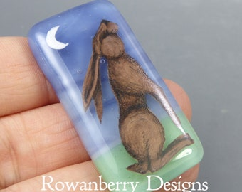 slight second - Hare Cabochon - Moon Gazing - Handmade Fused & Painted Art Glass - Rowanberry - Pendant Upgrade Available