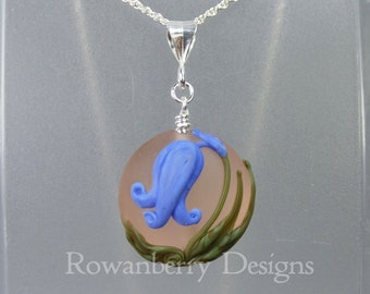 Bluebell Pendant and (optional) Chain - Art Nouveau Handmade Lampwork Glass & 925 Sterling Silver - Rowanberry Designs - Claire Morris BB6
