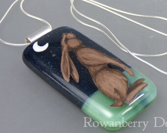 Moon Gazing Hare Pendant and Chain - Handmade Fused Painted Art Glass & 925 Sterling Silver - Rowanberry Designs