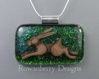 Leaping Hare Pendant and Chain - Handmade Fused Painted Art Glass & 925 Sterling Silver - Rowanberry Designs