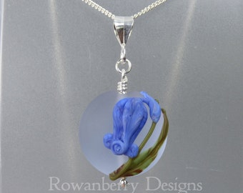 Bluebell Pendant and (optional) Chain - Art Nouveau Handmade Lampwork Glass & 925 Sterling Silver - Rowanberry Designs - Claire Morris BB7