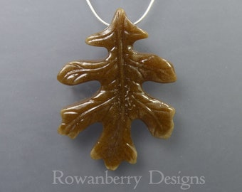 autumn OAK LEAF - Handmade Cast Fused Art Glass and Sterling Silver Pendant Necklace - OKP1 rowanberry designs