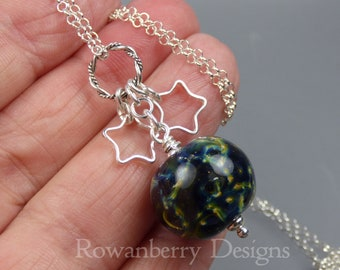 GALAXY Space Pendant with optional chain - Handmade Lampwork Art Glass and 925 Sterling Silver  - Rowanberry Designs SRA SPC4 Claire Morris