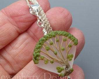 Summer Oak Tree Pendant and Optional Chain - Art Nouveau Handmade Lampwork Glass & 925 Sterling Silver - Rowanberry Designs - TRP3