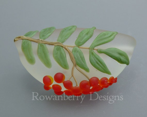 Rowan Branch and Berries - Handmade Lampwork Glass Art Focal Bead Pendant - Rowanberry Designs SRA - BI2