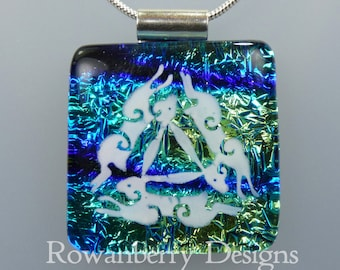 Triple Hare Celtic Pendant with optional chain - Handmade Fused Painted Art Dichroic Glass & 925 Sterling Silver - Rowanberry Designs  TPHR2