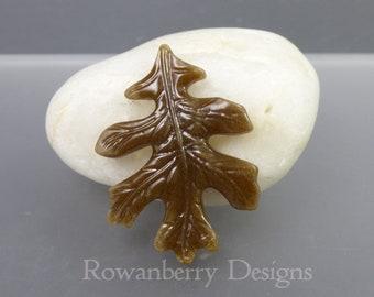 Oak Leaf Cabochon - Handmade Fused & Cast Art Glass - Rowanberry Designs