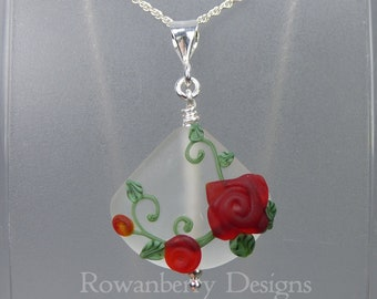 Rose Vine Pendant and Optional Chain - Art Nouveau Handmade Lampwork Glass & 925 Sterling Silver - Rowanberry Designs SRA - RSP4