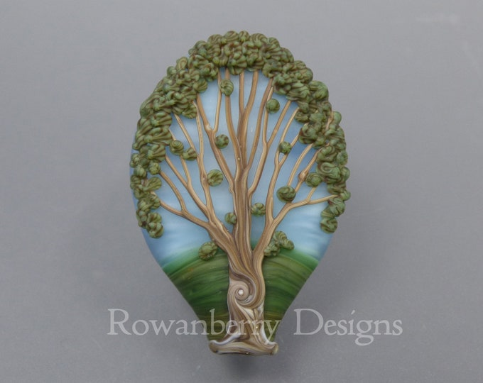 Featured listing image: Summer Oak Tree - Handmade Lampwork Glass Focal Bead - Rowanberry SRA - Art - TR4 - Pendant Upgrade Available
