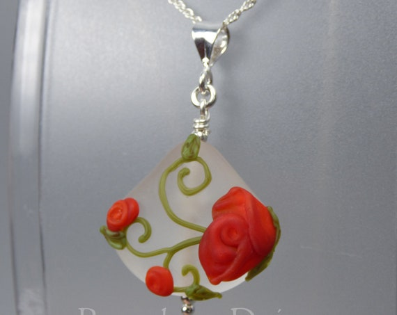 Rose Vine Pendant and Optional Chain - Art Nouveau Handmade Lampwork Glass & 925 Sterling Silver - Rowanberry Designs SRA - RSP3
