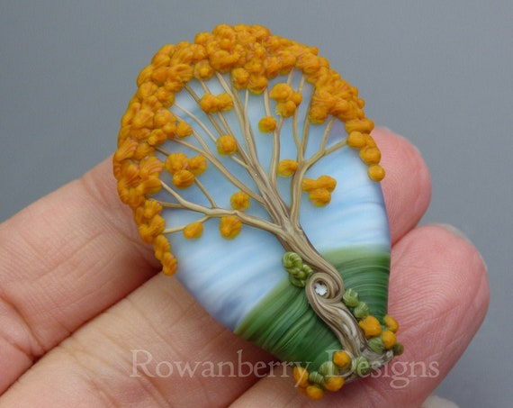 Autumn Celtic Oak Tree - Handmade Lampwork Art Glass Focal Bead - Rowanberry Designs - Claire Morris SRA - Pendant Upgrade available  FTR1
