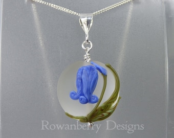 Bluebell Pendant and (optional) Chain - Art Nouveau Handmade Lampwork Glass & 925 Sterling Silver - Rowanberry Designs - Claire Morris BB4