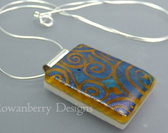 Batik Swirls Pendant with optional Chain - Handmade Fused Painted Art Glass & 925 Sterling Silver - Rowanberry Designs