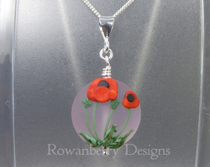 Featured listing image: Poppy Pendant and Chain - Art Nouveau Handmade Lampwork Glass & 925 Sterling Silver - Rowanberry Designs SRA - Art- PP1