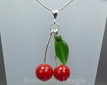 Cherry Pendant and Optional Chain - Handmade Lampwork Glass & 925 Sterling Silver - Rowanberry Designs SRA - CHRY4