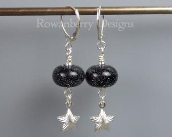 STARRY NIGHT Space Earrings - Handmade Lampwork Art Glass & 925 Sterling Silver  - Rowanberry Designs SRA SPC3 - Claire Morris