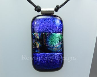 Dichroic Glass Pendant Cord Necklace - Handmade Fused Painted Art Dichroic Glass & 925 Sterling Silver - Rowanberry Designs