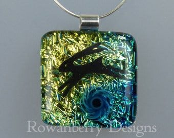 Leaping Hare Pendant - with optional chain - Handmade Fused Painted Art Dichroic Glass & 925 Sterling Silver - Rowanberry Designs - HR6