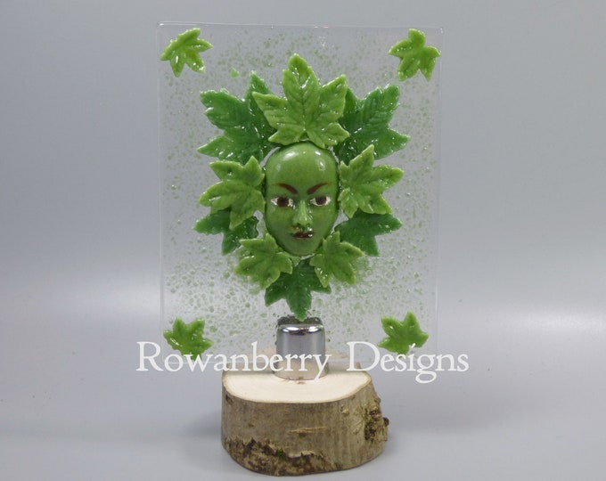 Featured listing image: TEST PIECE Green Woman - Handmade Fused Glass Picture and Stand - Rowanberry SRA - Art - Painting - Kilnformed