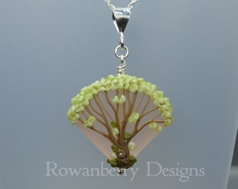 Blossom Tree Pendant and Optional Chain - Art Nouveau Handmade Lampwork Glass & 925 Sterling Silver - Rowanberry Designs SRA - TRP5