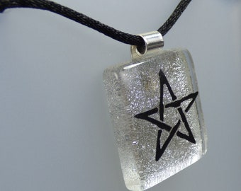 Pentacle Pendant Cord Necklace - Handmade Fused Painted Art Dichroic Glass & 925 Sterling Silver - Rowanberry Designs - PT1