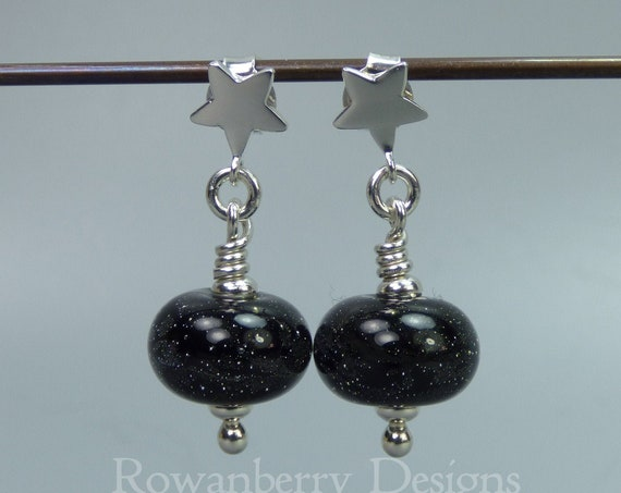 Starry Night Earrings - Art Nouveau Handmade Lampwork Glass & 925 Sterling Silver - Rowanberry Designs SRA - GLX6