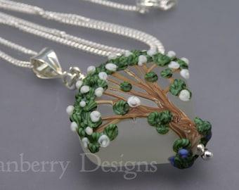 Hawthorn Blossom Tree Pendant and Optional Chain - Art Nouveau Handmade Lampwork Art Glass & 925 Sterling Silver - Rowanberry Designs - TR1