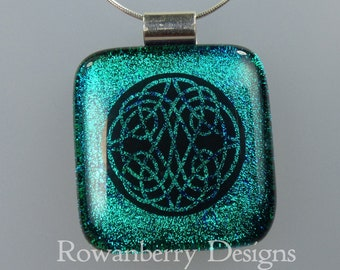 Celtic Knot Pendant with optional chain - Handmade Fused Art Dichroic Glass & 925 Sterling Silver - Rowanberry Designs  CLTC5