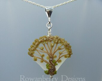 Autumn Celtic Oak Tree Pendant and Optional Chain - Art Nouveau Handmade Lampwork Glass & 925 Sterling Silver - Rowanberry Designs - TRP2
