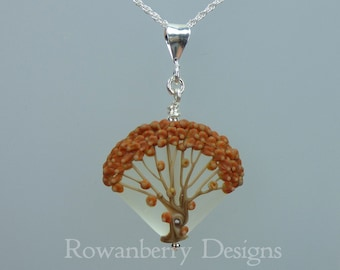 Autumn Fall Oak Tree Pendant and Optional Chain - Art Nouveau Handmade Lampwork Glass & 925 Sterling Silver - Rowanberry Designs SRA - TRP2