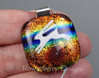 Rainbow Leaping Hare Pendant with optional chain - Handmade Fused Painted Art Dichroic Glass & 925 Sterling Silver - Rowanberry Designs  HR7